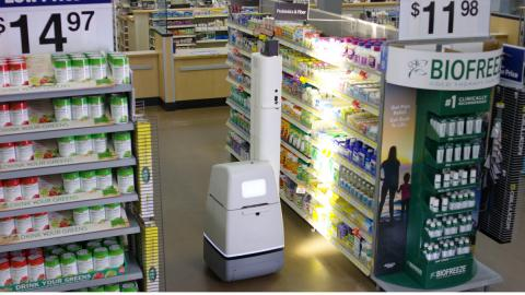 월마트에서 시험가동 중인 로봇이 매장을 돌아다니며 상품 진열상황을 체크하고 있다. 점원대신 상품이 모두 다 진열돼 있는지 라벨 등이 제대로 부착돼 있는지 점검할 수 있는 능력을 지니고 있다.  ⓒWall Mart
