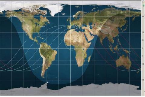 텐궁1호의 궤도 지도. ⓒ 위키피디아