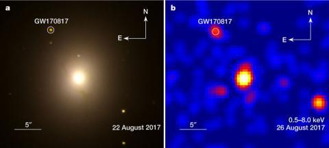 다섯 번째 중력파는 블랙홀이 아니라 중성자별의 병합의 결과였기 때문에 다양한 파장의 전자기파도 관측됐다. 왼쪽은 두 중성자별이 합쳐지고 5일이 지난 8월 22일 허블우주망원경이 관측한 가시광선 이미지로 왼쪽 위 'GW1708017'이라는 글자 밑 동그라미 안이 킬로노바다. 오른쪽은 9일이 지난 8월 26일 찬드라X선우주망원경이 관측한 X선 데이터로 역시 왼쪽 위 킬로노바에서 X선이 나옴을 알 수 있다.  ⓒ 네이처