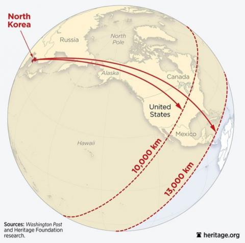 지난 11월29일 북한이 발사한  대륙간탄도탄(ICBM) 사거리를 분석하고 있는 헤리티지 재단의 도표. 1만~1만3000km의 사거리를 추정하고 있다.  ⓒheritage.org