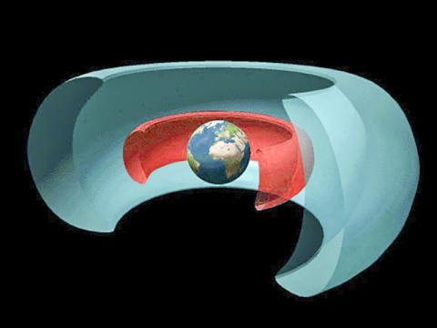 입체적으로 본 반 알렌 대 그림. 안쪽 벨트에는 양성자, 바깥 벨트에는 전자가 많이 분포해 있다. Credit: NASA