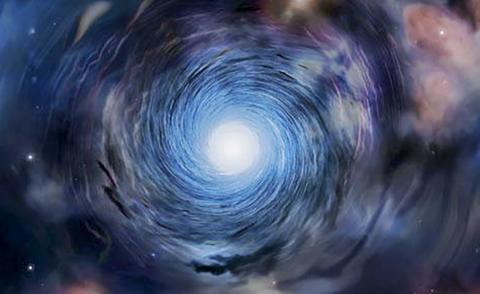 소용돌이를 형성하고 있는 초기 은하 모습 일러스트.  CREDIT: Amanda Smith, University of Cambridge