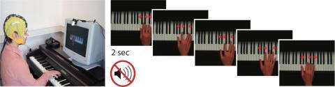 소리 안나는 피아노를 모니터 대로 연주한다. ⓒMPI CBS