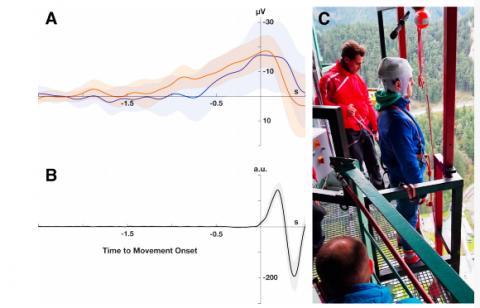 번지점프 대기하기. 왼쪽 그래프는 전형적인 준비전위를 나타내는 뇌파그래프이다. ⓒ Surjo Soekadar