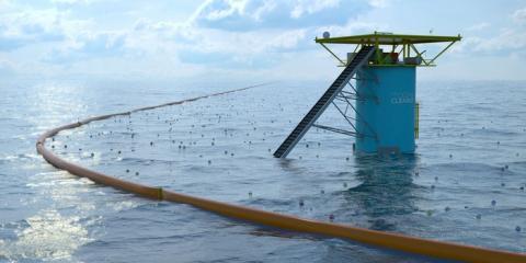 해류의 흐름을 이용하여 해상 쓰레기를 치우는 방식이 개발 중이다 ⓒ Ocean Cleanup