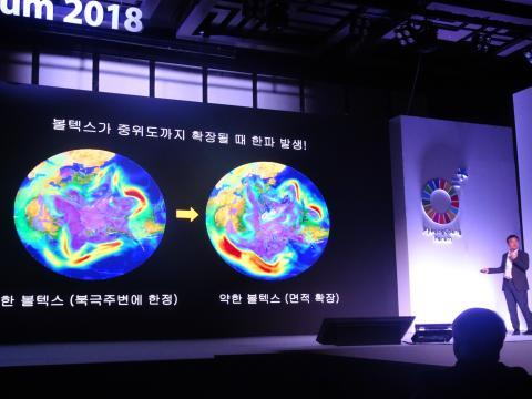 김백민 책임연구원이 폴라보텍스에 대해 설명하고 있다. ⓒ 김은영/ ScienceTimes