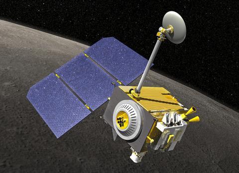 달의 극지 편심 궤도를 도는 로봇위성인 LRO 일러스트. CREDIT: Wikimedia Commons / NASA