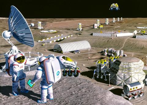 인간이 달에 건설하는 미래의 달 기지 모습 상상도.  CREDIT: Wikimedia Commons / NASA/SAIC/Pat Rawlings