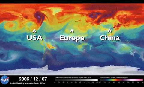 나사가 제공하는 CO2 배출량의 변화를 나타내는 비디오. 중국, 유럽, 미국이 가장 많은 co2 배출(붉은색)을 보이고 있다. ⓒ NASA