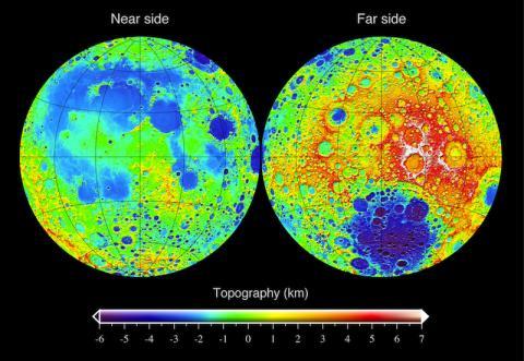 LRO의 레이저 고도계로 측정한 달의 지형도 CREDIT: Wikimedia Commons / Mark A. Wieczorek