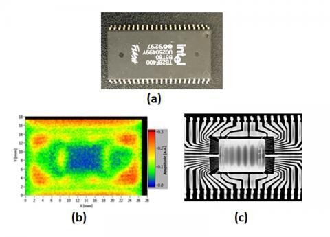 전자 칩(a)을 테라헤르츠파로 투과한 이미지(b)와 X선을 투과시킨 이미지(c). 테라헤르츠파는 비이온화(비파괴)하는 특성이 있다.  Credit : Wikimedia Commons / Kiarash Ahi