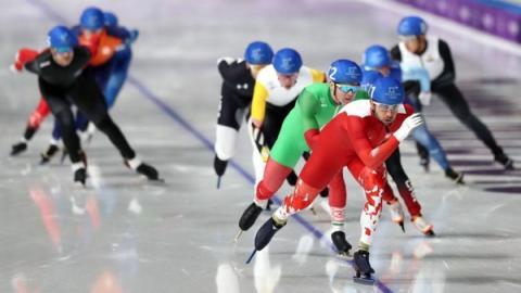 매스스타트는 3명 이상의 선수가 레인을 구분하지 않고 동시에 출발하여 트랙을 16바퀴 도는 경기다 ⓒ 평창올림픽조직위