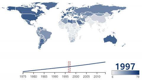 과체중 및 비만의 세계적인 증가 추세 도표.  Credit: Wikimedia Commons