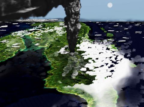 토바 분화를 수마트라 북쪽 42㎞ 지점에서 본 상상도.  CREDIT: Wikipedia Commons