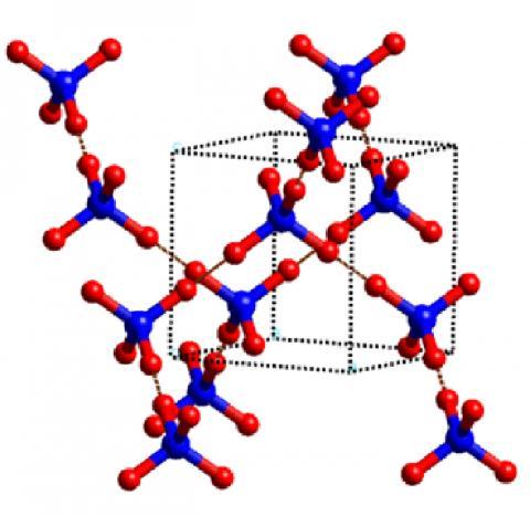 Ice-VII의 결정 구조.  Ice-VII는 얼음의 입방 결정체로서 온도를 실온으로 낮추거나 중수(D2O) Ice- VI을 감압해 3만 기압 이상의 액체 상태 물에서 형성된다.   Credit: Wikimedia Commons / Yadevol