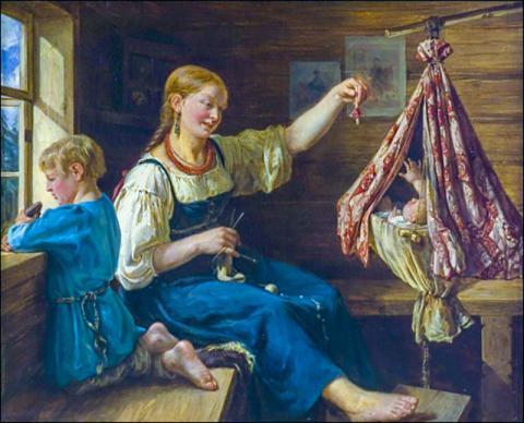 화가 프랑소아 니콜라스 리스(François Nicholas Riss, 1804-1886) 작품 '자장가'.  Credit: Wikimedia Commons