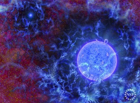 우주 가스들이 밀집된 곳에서 형성된 우주 최초의 거대한 파란 별들 상상도. ⓒ N.R.Fuller, National Science Foundation