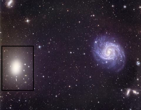 32인치 천체망원경으로 찍은 거대한 타원은하인 NGC 1052 사진. 이 은하가 NGC1052-DF2의 암흑물질 결핍에 어떤 영향을 주지 않았을까 추정되고 있기도 하다.  Credit Line and Copyright Adam Block/Mount Lemmon SkyCenter/University of Arizona