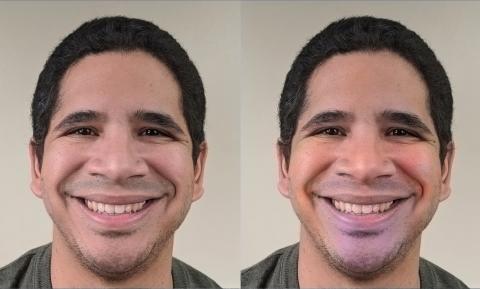 얼굴 색깔 분석을 통해 안면을 인식하는 기술이 개발됐다. 사진은 행복한 표정을 짓고 있는 실험참가자의 모습. 컴퓨터 영상으로 나타난 오른쪽 사진에서 입 가장자리 부분에 푸르스름한 색깔이 나타나고 있다.  ⓒOhio state University