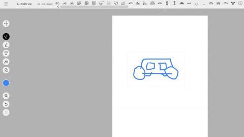 구글 오토드로우로 네모란 상자에 네모 창을 두개, 바퀴를 네개 그렸다. 인공지능은 자동차와 비슷한 이미지 수개를 추천했다. ⓒ https://www.autodraw.com/