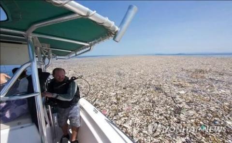 플라스틱 쓰레기 바다  ⓒ 텔레그래프 홈페이지 캡처