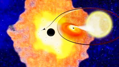 미국 컬럼비아대 천체물리학자들이 우리 은하계 중심부에 있는 Sgr A*를 선회하는 12개의 블랙홀-저 질량 연성(連星)을 발견했다. 이 블랙홀 연성들의 존재는 은하수 중심에서 불과 3광년 이내에 약 1만개의 블랙홀들이 존재한다는 사실을 시사한다.  CREDIT: Columbia University