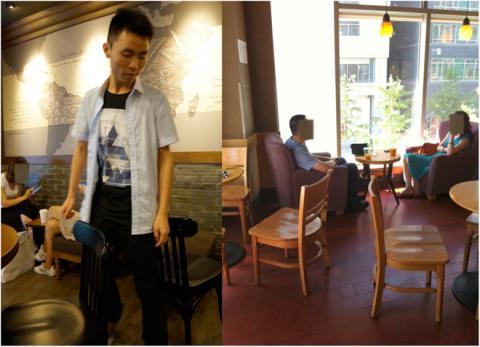 토머스 탈헬름의 실험 장면. 왼쪽은 연구원 중 한 명이 의자 틈이 얼마나 좁은지를 보여주고 있고, 오른쪽은 사람들이 쉽게 옮길 수 있는 가벼운 나무의자만을 사용했음을 보여주는 사진이다. ⓒ advances.sciencemag.org(토머스 탈헬름)