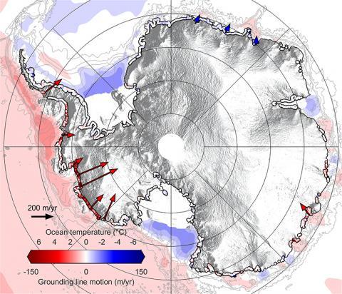 2010 년과 2016 년 사이에 남극 대륙 주변의 해양 환경과 접지선 이동 비율을 보여주는 지도. Credit: Hannes Konrad et al, University of Leeds