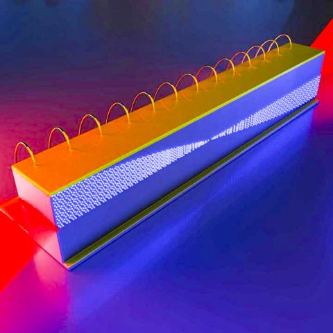 양자 캐스케이드 레이저의 적외선 주파수 콤(comb) 내부에서 서로 다른 주파수의 빛이 합쳐져 마이크로파를 생성해 방사하는 모습을 묘사한 일러스트. CREDIT: Illustration courtesy of Jared Sisler/Harvard University