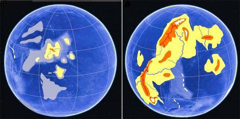 왼쪽은 지구 최초의 대륙인 케놀랜드가 형성될 동안의 육지 융기와 대양의 모습, 오른쪽은 그뒤 '산소 대량 급증 사건(Great Oxygenation Event) 이후의 상상도. 미국 오레곤대 연구팀은 이번 연구를 통해 해저에서 상당량의 육지가 솟아올랐던 때의 추정시기를 좁히는 성과를 거뒀다.  CREDIT: Graphic by Ilya Bindeman