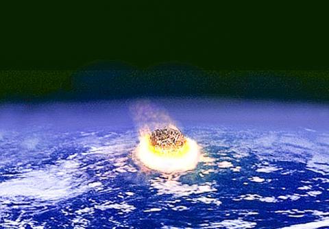 지구에 소행성이 충돌하는 모습 상상도. 지름 수킬로미터의 소행성이 지구에 충돌하면 핵무기 수백만 개 위력의 에너지를 방출하는 것으로 알져져 있다.  CREDIT:Fredrik / Wikimedia Commons