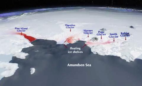서남극 빙상에서 빙하가 바다로 흘러내리는 속도를 붉은 색으로 표시했다. 색이 짙을수록 속도가 빠르다. CREDIT: Wikimedia Commons / NASA's Scientific Visualization Studio