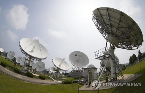 7일 충남 KT SAT 금산위성센터에 위치한 위성 안테나의 모습 ⓒ 연합뉴스