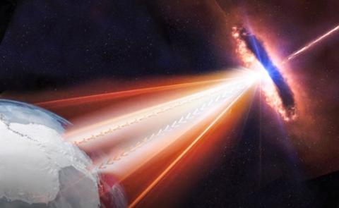 40억 광년 떨어진 오리온자리 가까운 블래자에서 지구로 중성미자 등 우주선이 쏟아지는 모습을 형상화했다.  Credit: IceCube Collaboration/NSF
