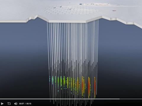 중성미자와 얼음분자의 상호작용을 보여주는 애니메이션. 모든 색깔의 원은 아이스큐브 센터 하나가 수집된 빛을 각각 나타낸다. 적색에서 녹색/청색으로의 점차적인 색 변화는 시간 순서를 나타낸다. 동영상 캡처.  CREDIT: IceCube Collaboration/NSF