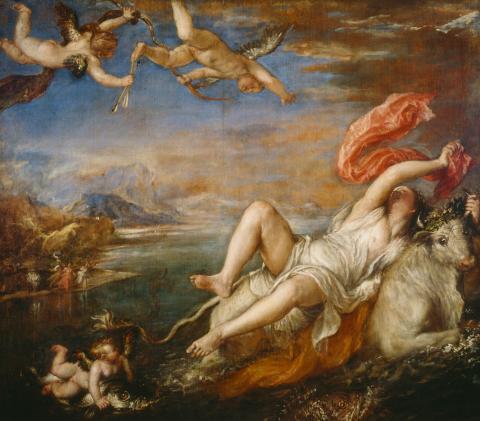 납치당하는 유로파(The Rape of Europa, 1562년), 티치아노(Titian).  ⓒ 위키백과 자료