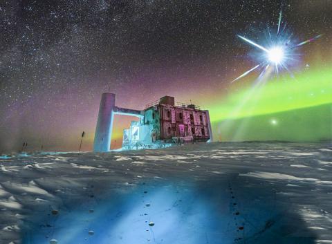 남극 아이스큐브 연구소의 실제 모습을 기반으로 그린 일러스트. 원거리에서 날아오는 중성미자를 얼음 아래에서 DOM이라고 부르는 아이스큐브 센서로 검출해 낸다.   CREDIT: Icecube/NSF