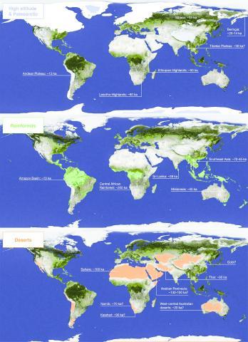 현재의 증거를 바탕으로 현생인류가 지속적으로 정착하기 시작한 각 극한지역들 및 가장 늦은 것으로 생각되는 정착 시기.   CREDIT: Maps from NASA Worldview. In Roberts and Stewart. 2018. Defining the 'generalist specialist' niche for Pleistocene Homo sapiens. Nature Human Behaviour. 10.1038/s41562-018-0394-4.
