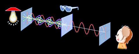 편광필터가 한 방향으로 진동하는 빛을 걸러내는 모습.  CREDIT: Masako Hayashi, CORE-U, Hiroshima University