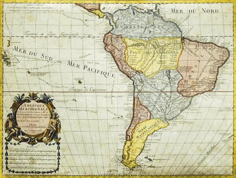 연구팀이 생물 진화 모델링의 대상으로 삼은 남아메리카. 1700년 경의 판화. Photo by DeAgostini/Getty Images