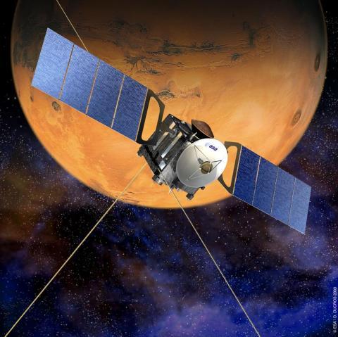 화성 탐사선 '마르스 엑스프레스'(사진)에 설치된 고성능 레이더를 통해 화성 남극 지하에서 거대한 호수가 있음을 발견했다. 화성에서 거대한 물 저장소가 발견됨에 따라 화성 생명체 연구가 활발해질 전망이다.
