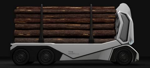 목재배송에 최적화된 티로그는 운전석 부분이 없는 완전한 의미의 무인 트럭이다