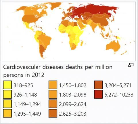 세계 각 지역의 백만 명당 심장병 사망률. CREDIT: Wikimedia Commons