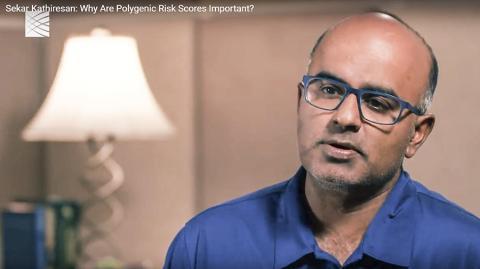 브로드 인스티튜트 연구원 겸 하버드의대 세카르 카티르산 교수가 다원유전적 위험평가가 왜 중요한지를 설명하고 있다. 동영상 CREDIT: Broad Institute