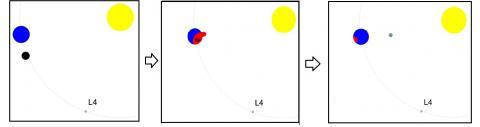 Credit: Wikimedia Commons  태양계 초기 고대 행성 테이아(Theia)가 지구와 충돌해 달이 생성되는 모습을 그린 일러스트.