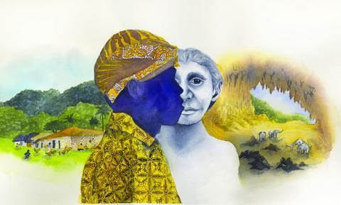 6만~10만년 전 인도네시아 플로레스 섬에 살았던 '호빗' 피그미종인 호모 플로레시언시스는 현재 같은 섬에 살고 있는 현대의 피그미족과는 유전적 연관성이 없는 것으로 밝혀졌다. 과학자들은 섬에 고립된 환경이 자연선택에 따른 왜소성을 발현시킨 것으로 보고 있다.  Illustration by Matilda Luk, Office of Communications, Princeton University