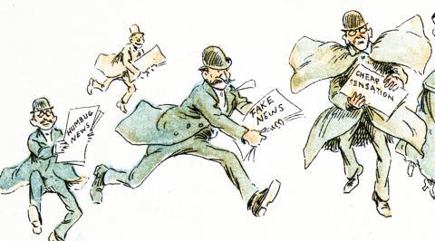 다양한 형태의 가짜 뉴스를 전하는 리포터들을 풍자한 일러스트. 1894년 프레데릭 버 오퍼(Frederick Burr Opper) Credit : Wikimedia Commons / Frederick Burr Opper