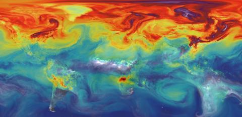 인위적으로 배출된 이산화탄소의 절반이 흡수되지 않고 대기 중에 있을 때의 컴퓨터 시뮬레이션.  CREDIT: Wikimedia Commons / NASA/GSFC