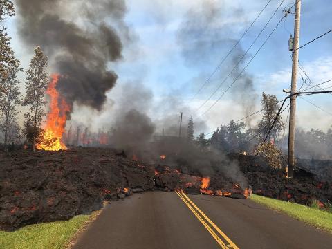 지난 5월부터 하와이 킬라우에아 화산으로부터 분출된 용암이 도로로 흘러드는 장면. 화산이 자연생태계의 보고 하와이를 새로운 모습으로 바꿔놓고 있다.  ⓒWikipedia