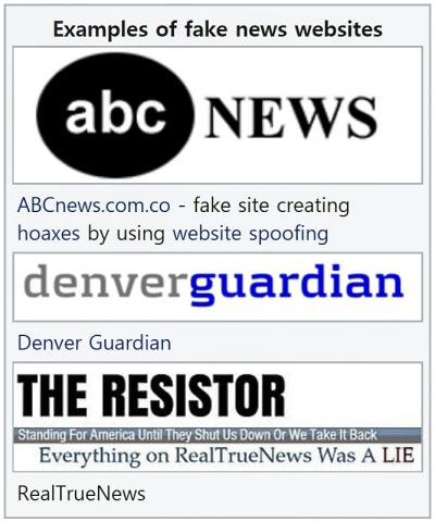 미국의 가짜뉴스 웹사이트 사례들. Credit : Wikimedia Commons